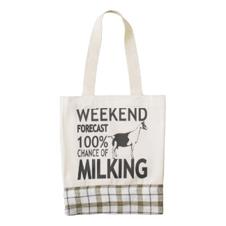 CUSTOMIZE Weekend Forecast Alpine Goat Breed Zazzle HEART Tote Bag