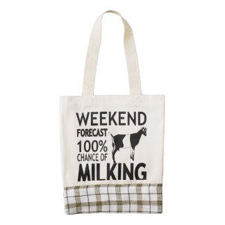 CUSTOMIZE Weekend Forecast LaMancha Dairy Goat Zazzle HEART Tote Bag