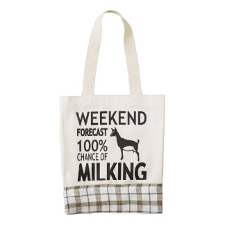 CUSTOMIZE Weekend Forecast Nigerian Dwarf Goat Zazzle HEART Tote Bag