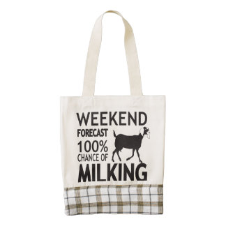 CUSTOMIZE Weekend Forecast Nubian Goat Breed Zazzle HEART Tote Bag
