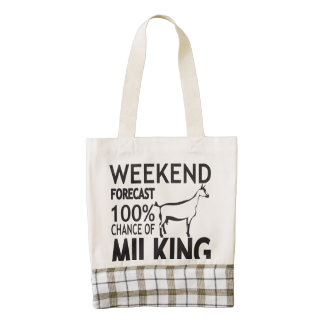 CUSTOMIZE Weekend Forecast Oberhasli Goat Breed Zazzle HEART Tote Bag