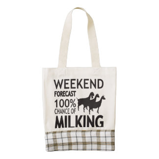 CUSTOMIZE Weekend Forecast Three Dairy Goats Zazzle HEART Tote Bag