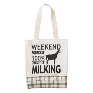 CUSTOMIZE Weekend Forecast Toggenburg Goat Breed Zazzle HEART Tote Bag