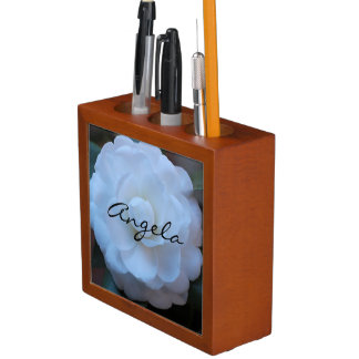 Customize White Rose Photo in the French Quarter Pencil Holder