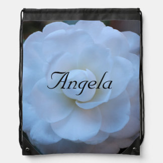 Customize-White Rose with Name Drawstring Backpack