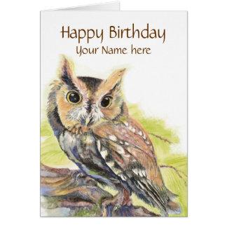 Customize with Name, Cute Owl Bird, Birthday Card