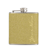 Customize With Name - Trendy Glitter Gold Hip Flask
