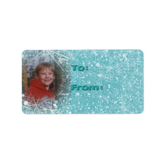 Customize with Photo Snow Gift Labels in Aqua