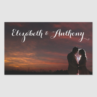 Customize with Photo Wedding Rectangular Sticker