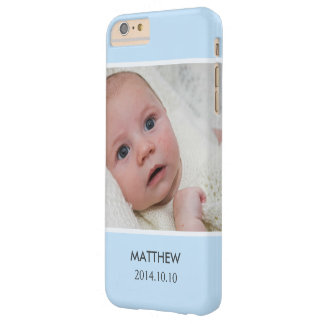 Customize with Your Boy Baby Photo - Blue Stylish Barely There iPhone 6 Plus Case