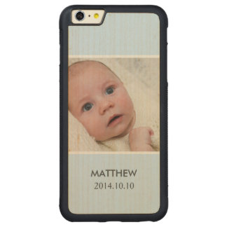 Customize with Your Boy Baby Photo - Blue Stylish Carved® Maple iPhone 6 Plus Bumper