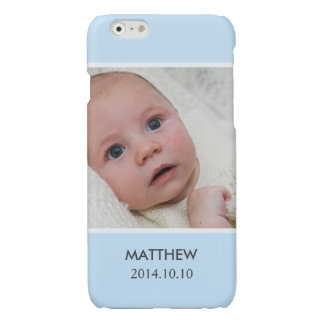 Customize with Your Boy Baby Photo - Blue Stylish Glossy iPhone 6 Case