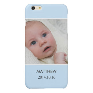 Customize with Your Boy Baby Photo - Blue Stylish Glossy iPhone 6 Plus Case