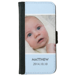 Customize with Your Boy Baby Photo - Blue Stylish iPhone 6 Wallet Case