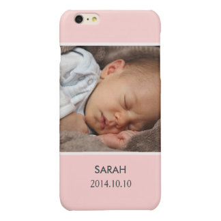 Customize with Your Girl Baby Photo - Pink Stylish Glossy iPhone 6 Plus Case