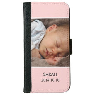 Customize with Your Girl Baby Photo - Pink Stylish iPhone 6 Wallet Case