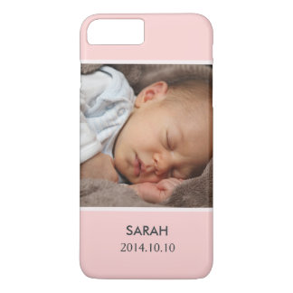 Customize with Your Girl Baby Photo - Pink Stylish iPhone 7 Plus Case