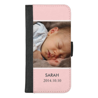 Customize with Your Girl Baby Photo - Pink Stylish iPhone 8/7 Plus Wallet Case