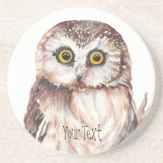 Customize with your Name Funny Owl - Bird, Nature Sandstone Coaster