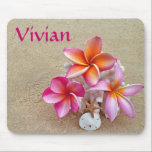 """Customize with Your Name Mouse Pad<br><div class=""""desc"""">Tropical setting of plumeria and shells on the sand.  Area that you can customize with your name or the name of the recipient.</div>"""