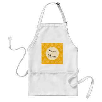 Customize Yellow & White Flowers Kitchen Gifts Adult Apron