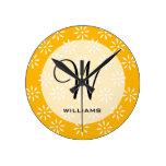 Customize Yellow & White Flowers Kitchen Gifts Round Clocks