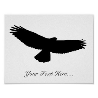 "CUSTOMIZE YOUR COLOR! ""YOUR TEXT HERE""-Hawk-Black Poster"