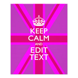 Customize Your Keep Calm Edit Text on Pink Union J Flyer