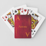 "Customize your Name and Initial Playing Cards<br><div class=""desc"">Customize your Name and Initial on Bicycle Playing Cards with red,  blue, green, black, teal or cherry faux leather backgrounds ( Photos from the Public Domain)</div>"
