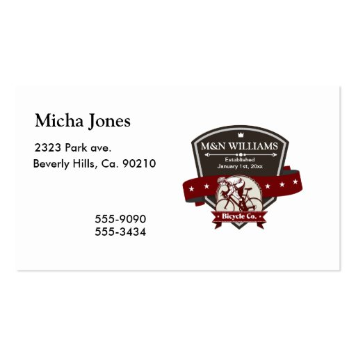 Customize Your Name Bicycle Company Logo Business Card Template