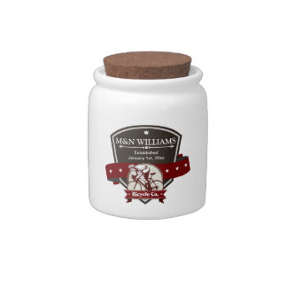 Customize Your Name Bicycle Company Logo Candy Jar