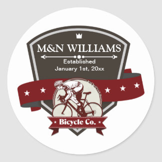 Customize Your Name Bicycle Company Logo Classic Round Sticker