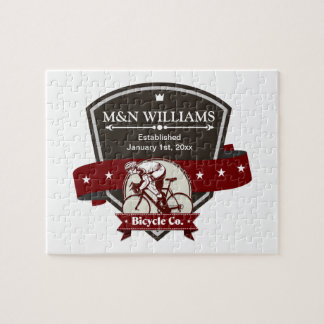 Customize Your Name Bicycle Company Logo Jigsaw Puzzle