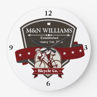Customize Your Name Bicycle Company Logo Large Clock