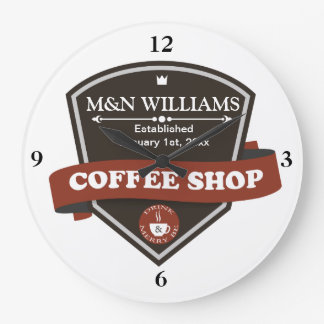 Customize Your Name Coffee Shop Logo Large Clock