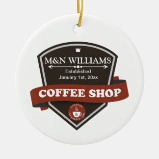 Customize Your Name Coffee Shop Logo Double-Sided Ceramic Round Christmas Ornament