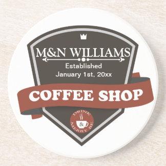 Customize Your Name Coffee Shop Logo Sandstone Coaster