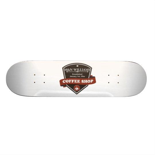 Customize Your Name Coffee Shop Logo Skateboard Deck