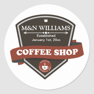 Customize Your Name Coffee Shop Logo Classic Round Sticker