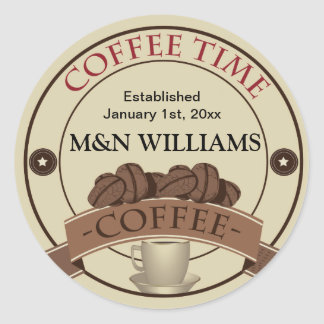 Customize Your Name Coffee Time Logo Classic Round Sticker