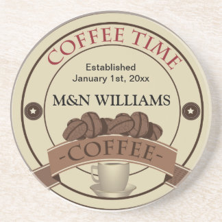 Customize Your Name Coffee Time Logo Drink Coaster