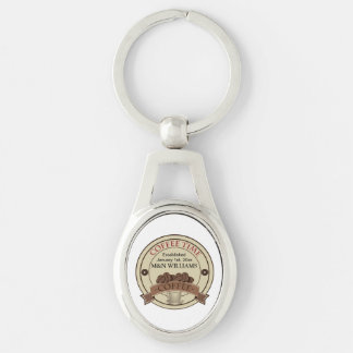 Customize Your Name Coffee Time Logo Keychain