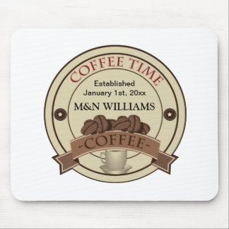 Customize Your Name Coffee Time Logo Mouse Pad