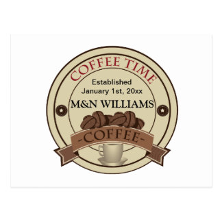 Customize Your Name Coffee Time Logo Postcard