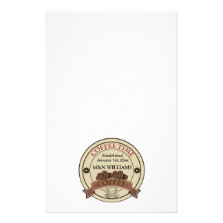 Customize Your Name Coffee Time Logo Customized Stationery