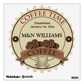 Customize Your Name Coffee Time Logo Wall Decal