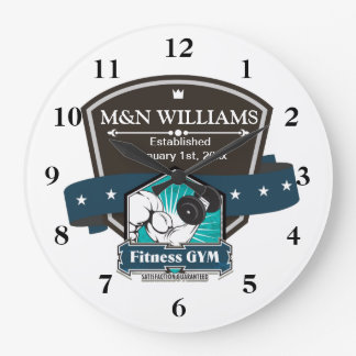 Customize Your Name Fitness Gym Logo CSTM Large Clock