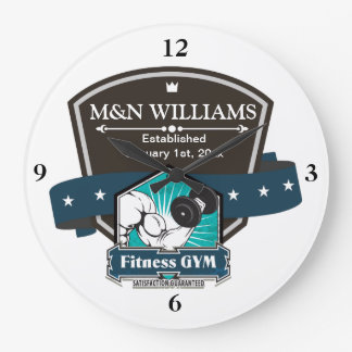 Customize Your Name Fitness Gym Logo Large Clock