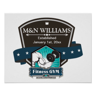 Customize Your Name Fitness Gym Logo Poster