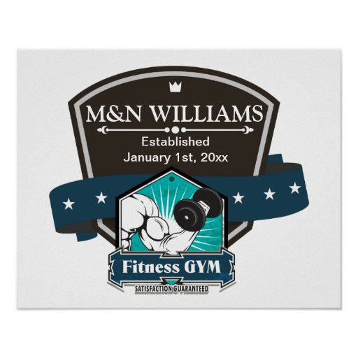 Customize Your Name Fitness Gym Logo Print
